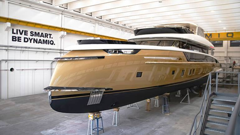 Dynamiq's 41m flagship yacht Stefania ready for launch in Tuscany